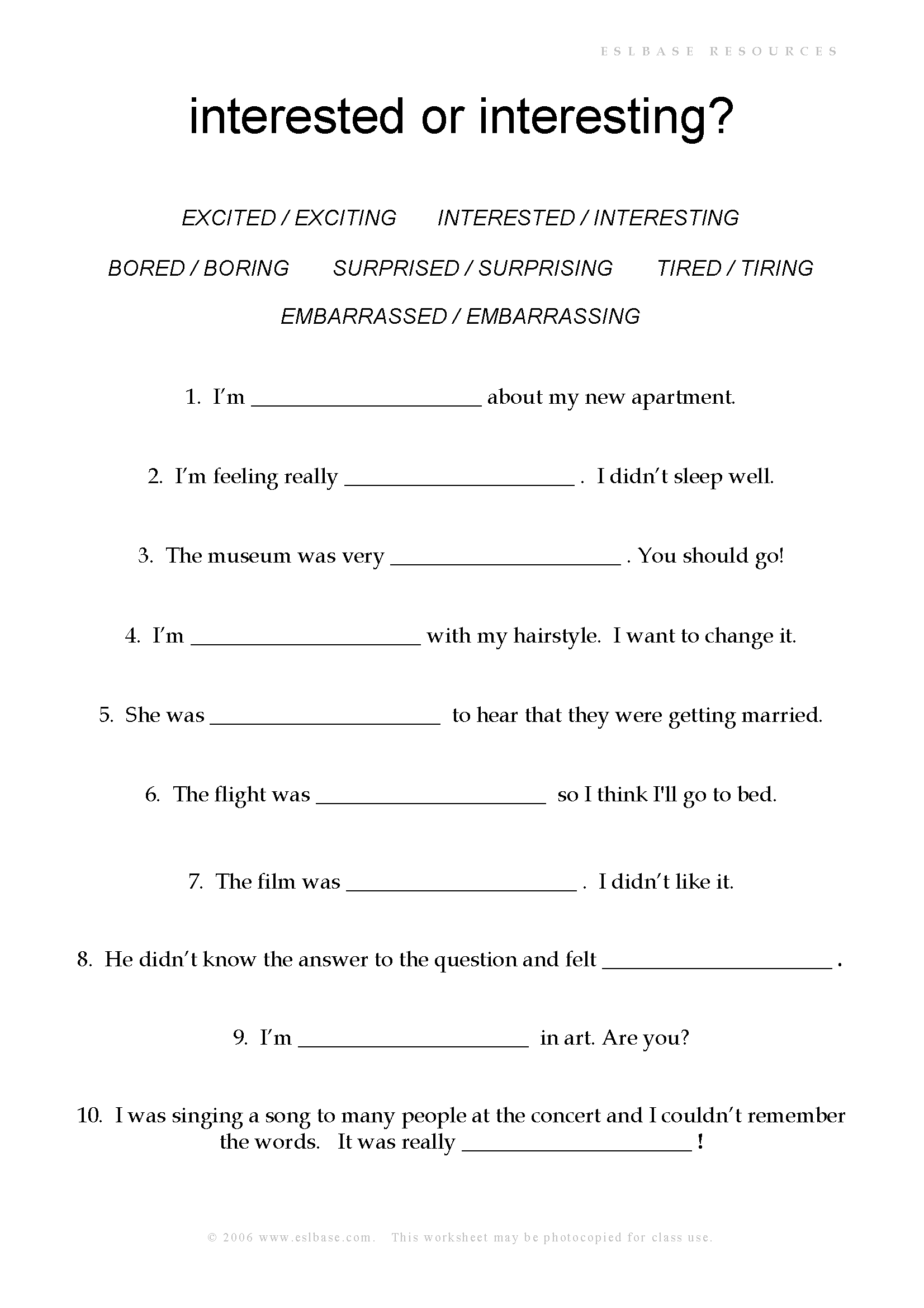 worksheet Esol Worksheets esl worksheets adjectives with ed or ing eslbase com ing