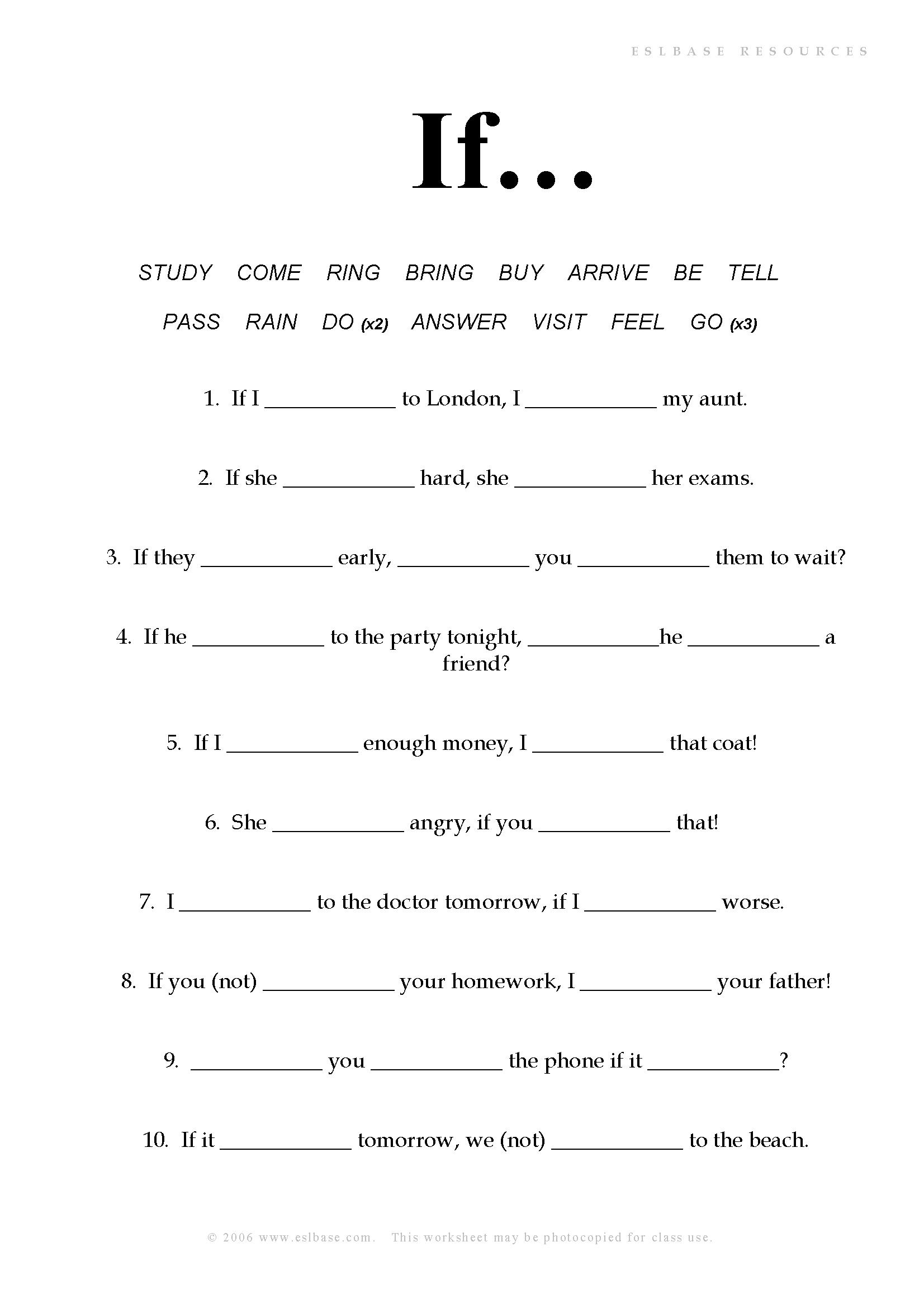 Worksheet to practise first conditional