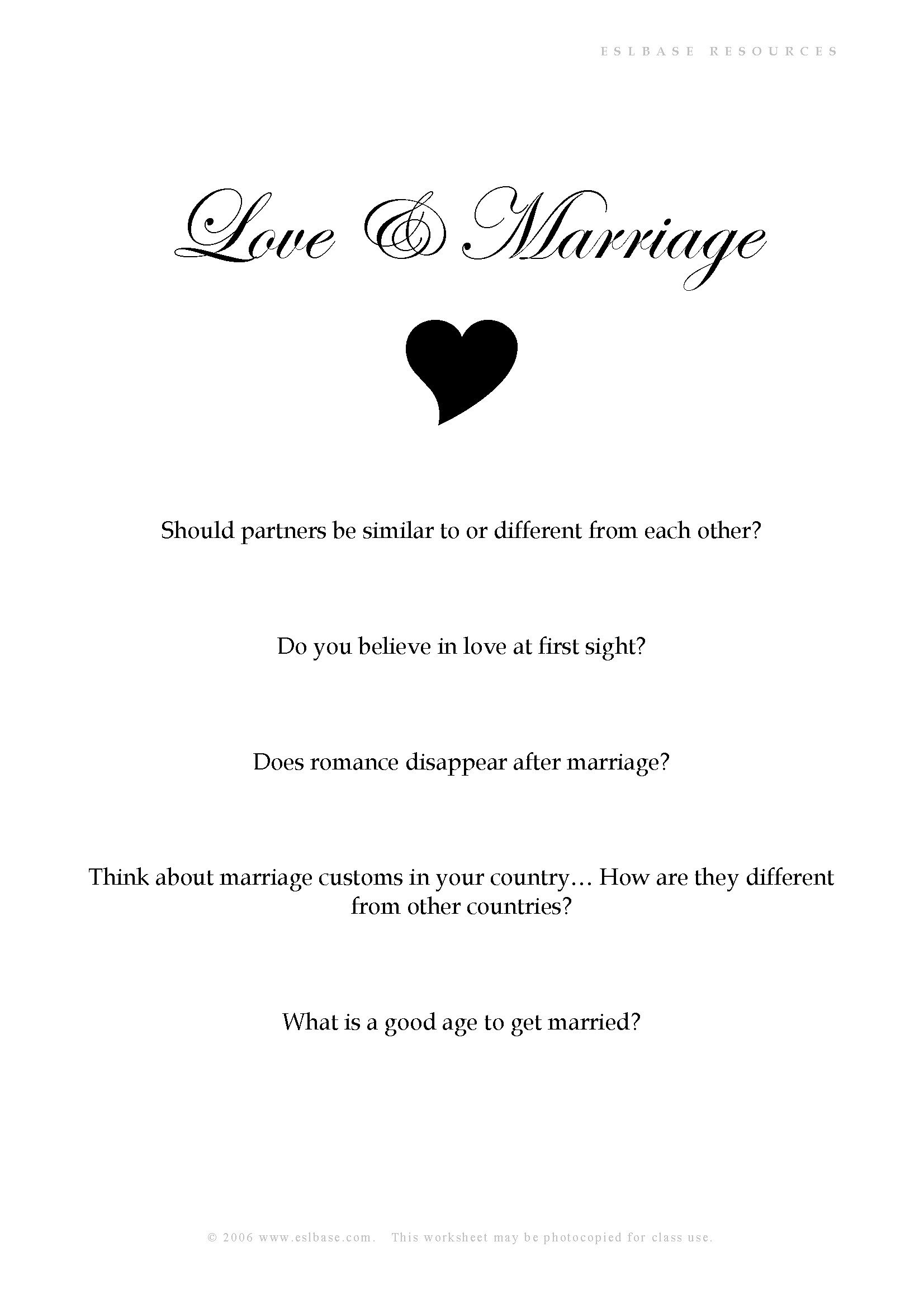 Love and marriage conversation ESL worksheet