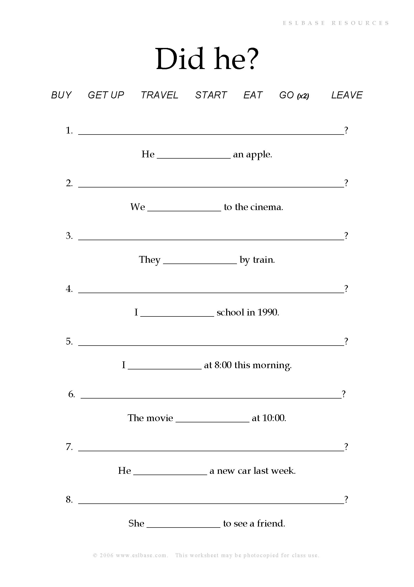 Past Simple Questions Worksheet - Eslbase.com