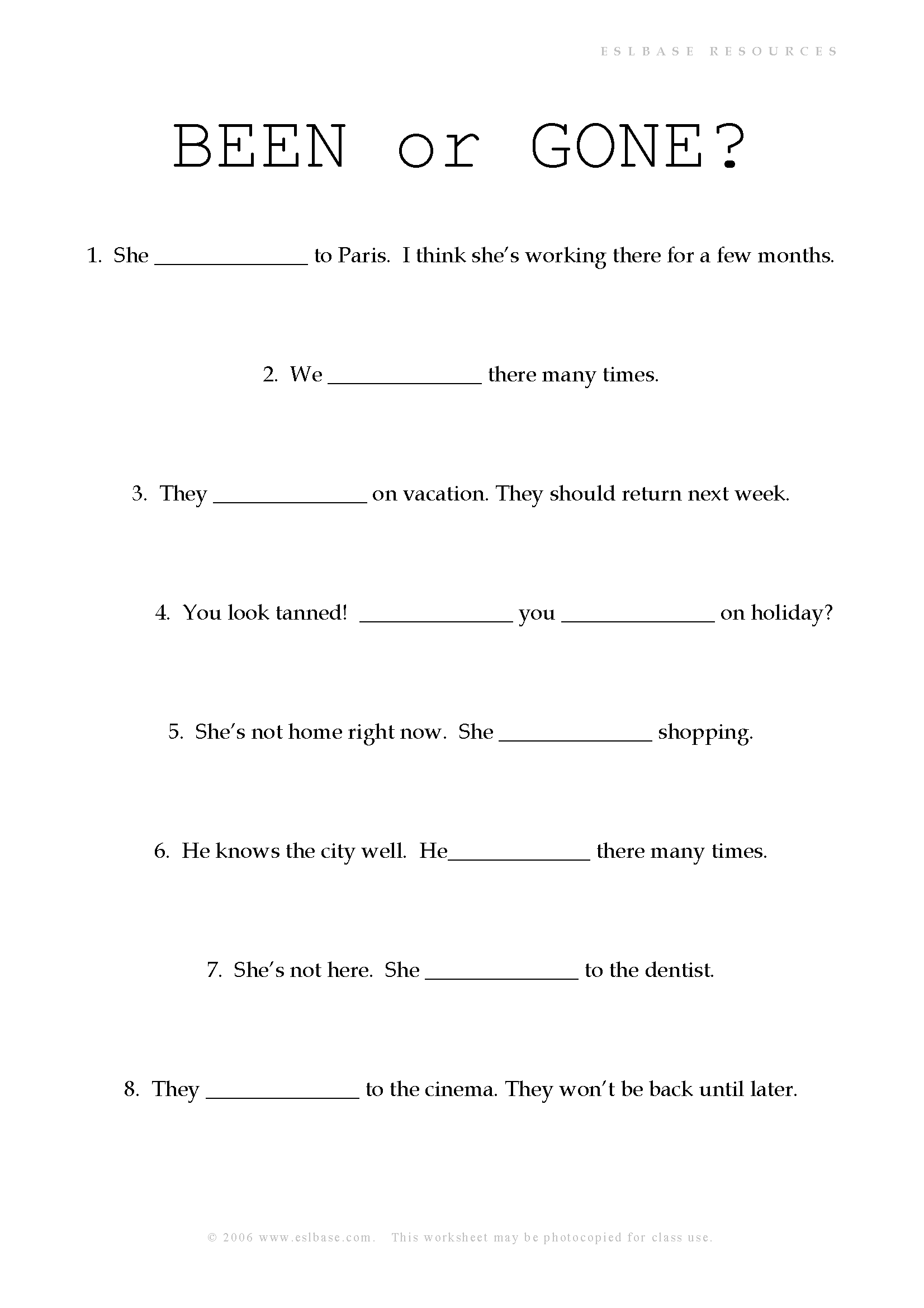 Present Perfect Been And Gone Worksheet Eslbase
