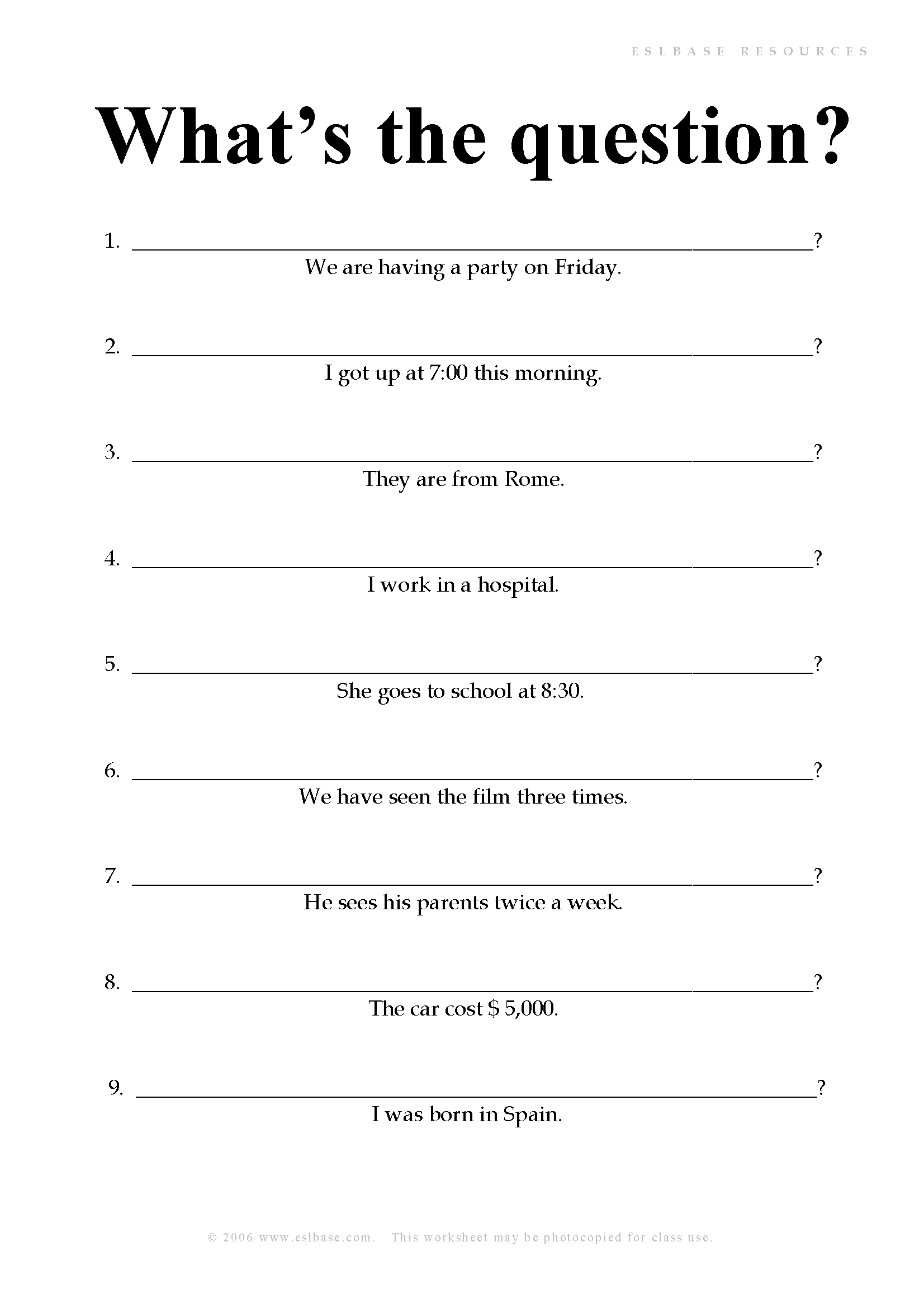 worksheet Esol Worksheets esl worksheets whats the question eslbase com question