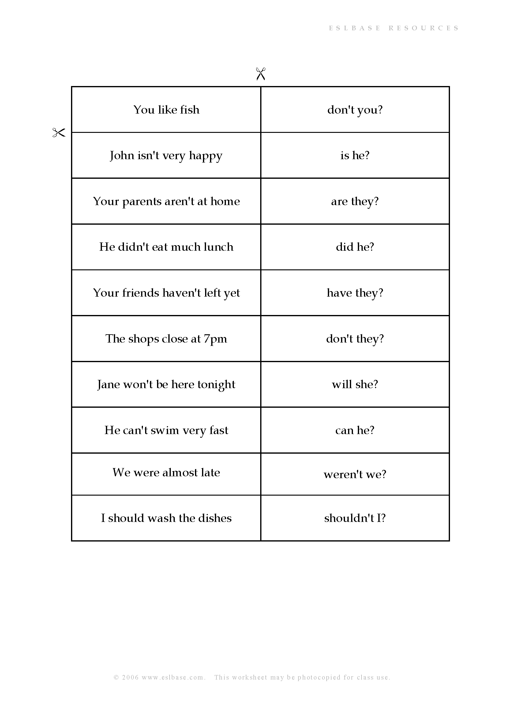Tag Questions Matching activity - Eslbase.com